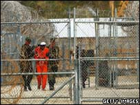 Prisoner under escort at Guantanamo Bay
