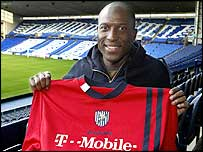 New WBA striker Kevin Campbell