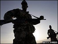 Jordanian security forces guard rocket launch site
