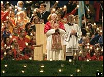 Pope Benedict XVI during Saturday's prayer vigil