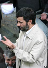 Iranian president Mahmoud Ahmadinejad praying during Friday prayers