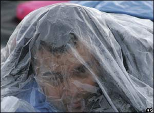 Pilgrim wrapped in plastic sheet