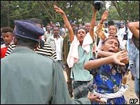 Protesters rally outside Addis Ababa University, Ethiopia