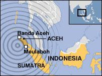 Mapa de Sumatra, Indonesia.