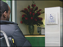 Photo of wheelchair user automatic gate