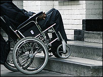 Photo of wheelchair user attempting to get up steps
