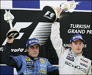 Fernando Alonso and Kimi Raikkonen celebrate
