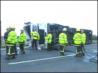 A lorry was overturned near the Faughan Bridge