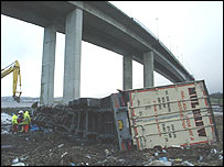 A lorry beneath Foyle Bridge, Londonderry.
