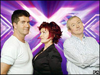 X Factor judges Simon Cowell, Sharon Osbourne and Louise Walsh