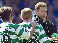 Neil Lennon confronts the officials at Ibrox