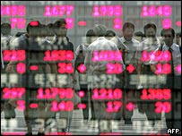 Bank workers reflected in an index of share prices
