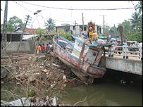 Beached boat in Beruwala