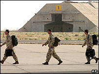 Australian Army Task Force soldiers disembark from a C17 Australian Air Force plane at Ali Al Salem Air Base, 70 Km North West of Kuwait City on Sunday, April 17, 2005.