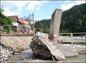 Damaged bridge in Comanesti, Romania (pic: Vic Brown)