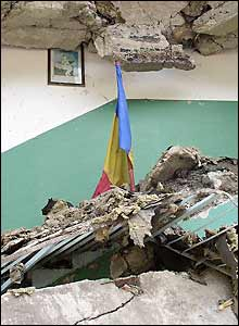 The Romanian flag in a schoolroom in a village near Comanesti, Romania (pic: Vic Brown)