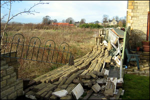 Angus Turner sent this picture of his garden at Inveresk, Musselburgh, where the winds brought down a wall