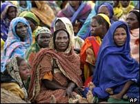 Displaced women in a camp in Western Sudan