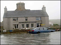 Flooding in village of Ronaldsay, Orkney