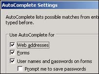 AutoComplete settings, Microsoft