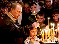 Vladimir Putin marking the Orthodox Christmas