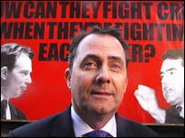 Tory chairman Liam Fox unveils a new poster campaign on Wednesday