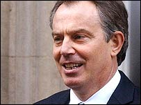 Tony Blair leaving for prime minister's questions on Wednesday