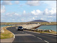 The causeway between Benbecula and South Uist (Picture from Undiscovered Scotland  http://www.undiscoveredscotland.co.uk/index.html