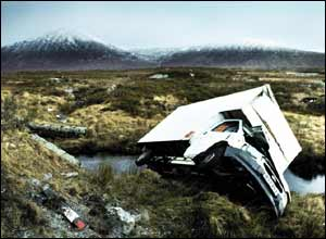 Van blown over in Glencoe