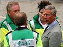Prince Charles with ambulance crews