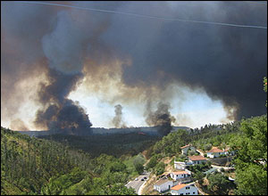 A fire breaking out near Covelos, Portugal.