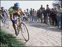 The cobbled section of the Paris-Roubaix race