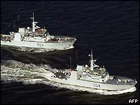 HMCS Glace Bay and HMCS Shawinigan