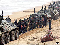 Russian Marine Corps line up for briefing on the beach in Qingdao, in east China's Shangdong Province, Monday, Aug. 22, 2005