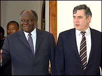 Mr Brown with  Kenyan president Mwai Kibaki