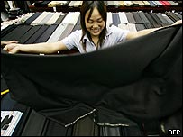 Chinese workers measuring cloth
