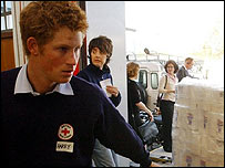 Prince Harry helping with tsunami aid