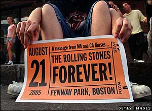 Fans outside The Rolling Stones concert at Fenway Park in Boston