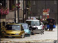 Flooded street in Matte area of Bern