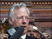 Sir Mark Thatcher speaks outside court