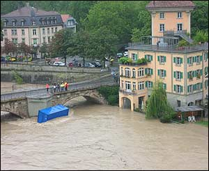 Swollen river Aare in Bern