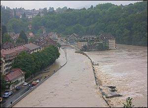 Swollen river Aare in Bern