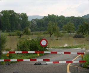 Road closed at Windisch, northern Switzerland