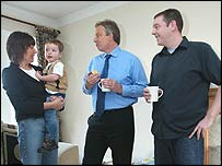 Tony Blair at a photocall in Chatham at the home of Peter and Pam Hake and their son George