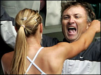 Maria and Yuri Sharapova celebrate her Wimbledon victory in 2004