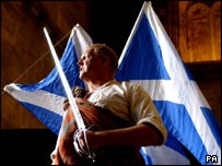 David Ross with Saltires