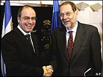 Sylvan Shalom and Javier Solana