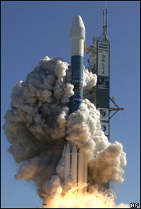 Delta II rocket carrying the Deep Impact spacecraft launches from Cape Canaveral on 12 January