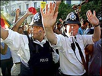 Police at Notting Hill Carnival in 2001