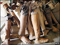 Artificial limbs in a workshop in Kilinochchi, northern Sri Lanka